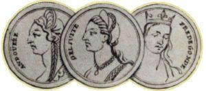 Жены Хильперика в хронологическом порядке слева направо