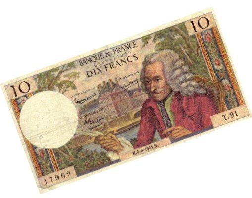 Вольтер, увековеченный в десятифранковой купюре