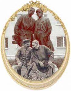 М.Горький и И.Сталин у ног М.Горького и В.Ленина